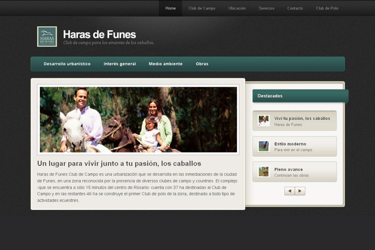 Haras de Funes. Barrio privado. Sitio web 2011