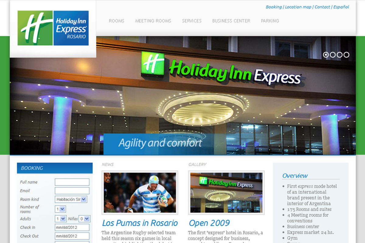 Holiday Inn Express Rosario. Hotel internacional. Sitio web 2012