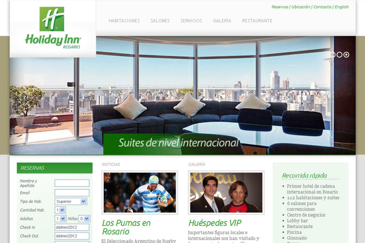 Holiday Inn Rosario. Hotel internacional. Sitio web 2012