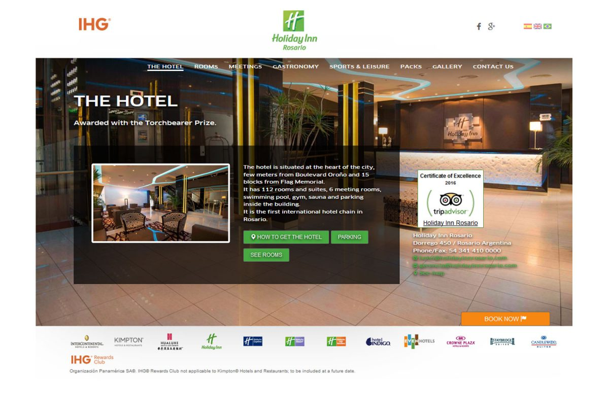 Holiday Inn Rosario. Hotel internacional. Sitio web 2015