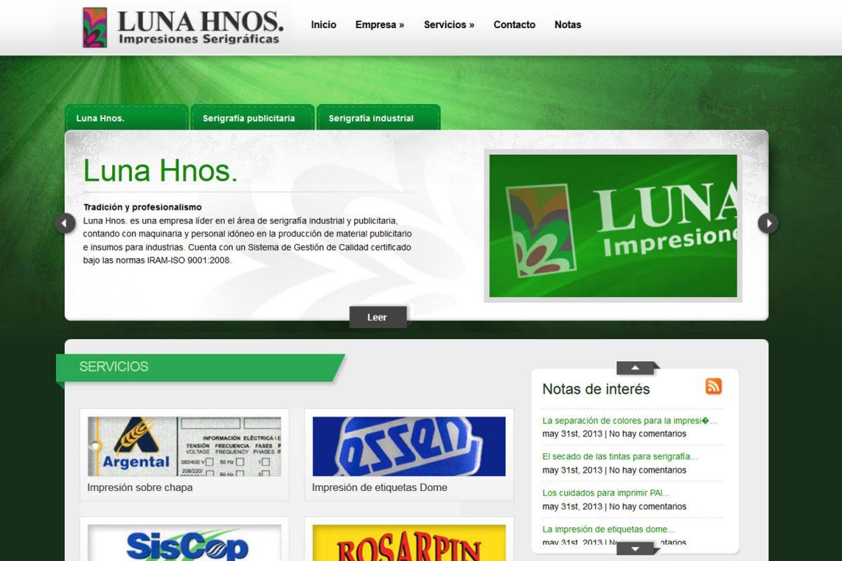 Luna Hnos. Serigrafía industrial. Sitio web 2013