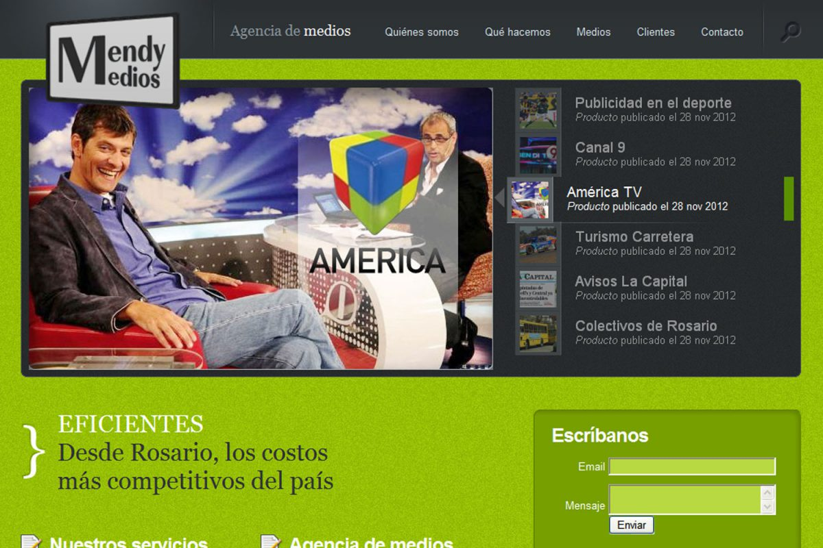 Mendy Medios. Agencia de medios. Sitio web 2012