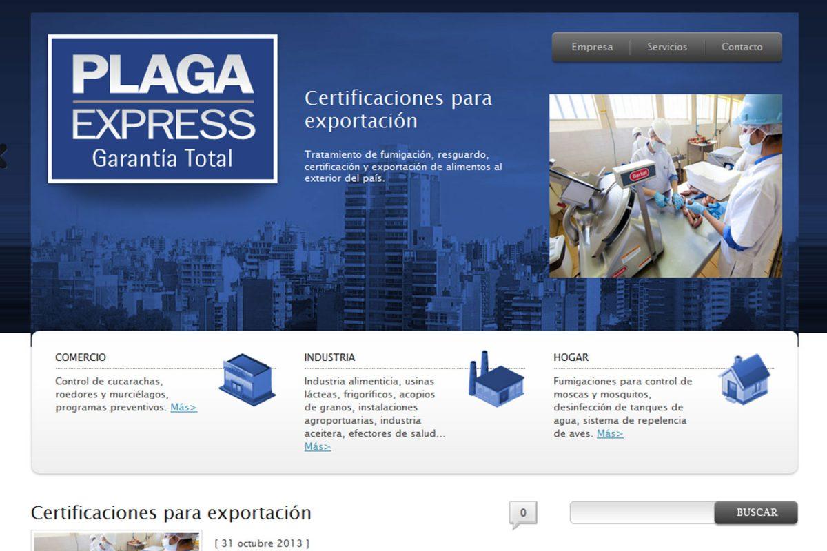 Plaga Express. Saneamiento ambiental. Sitio web 2013