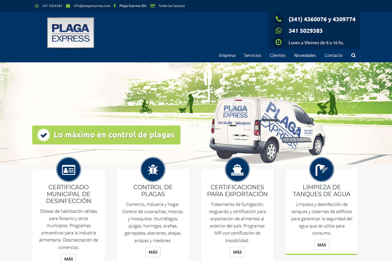 Plaga Express. Control de plagas. Sitio web 2017